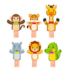Interesting collection of wild animal hand puppets vector