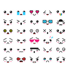kawaii emoticon cartoon emotion character vector image