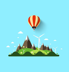 landscape with hot air balloon vector image