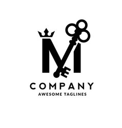 letter m crown and key vector image