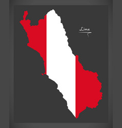 Lima map with peruvian national flag vector