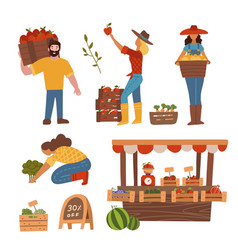 local organic production set eat concept vector image