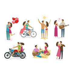 Loving couple set icons family love concept vector