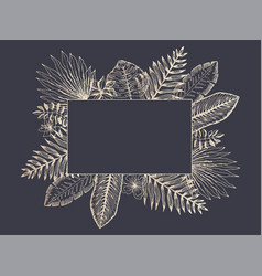 luxury frame of golden tropical leaves on black vector image