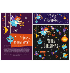 merry christmas angel cupid and symbols of winter vector image