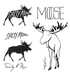 Moose and Lettering Monochrome vector