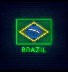 neon brazil flag vector image