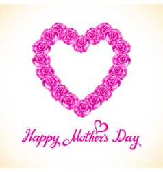 pink rose mother Day Heart Made of purple Roses vector image