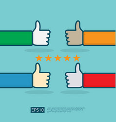 Positive good review with hand thumb up symbol vector