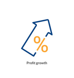 profit growth icon chart arrow up success vector image