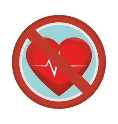 Prohibited sign heart care isolated icon vector