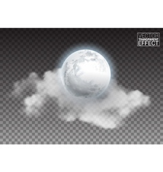 Realistic detailed full big moon with clouds vector
