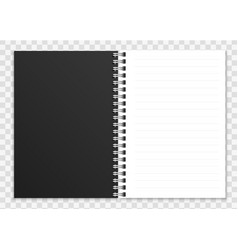 Realistic open notebook notepad or copybook with vector
