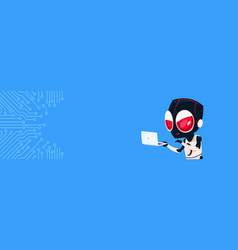 robot hacker with laptop computer over circuit vector image
