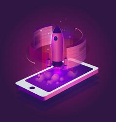 Rocket business start-up infographic vector