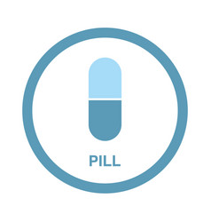 Round medical icon pill in a capsule vector