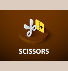 scissors isometric icon isolated on color vector image