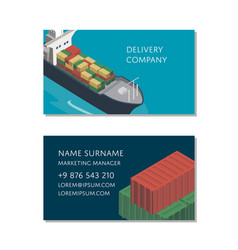 sea shipping logistics business card template vector image