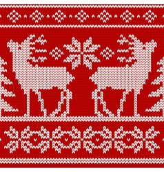 Seamless knit pattern deers vector