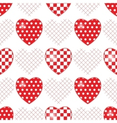 Seamless pattern with applique hearts vector