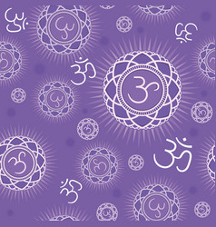 Seamless pattern with sahasrara chakra vector