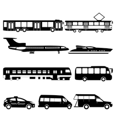 Set of black public transport vector