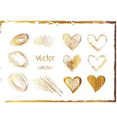 set of gold hearts abstract shiny art vector image