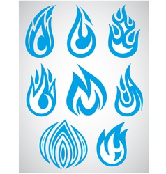 Set of stylized icons with flames vector