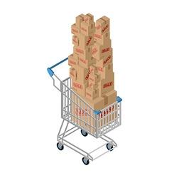 Shopping cart and box sale Shop at supermarket vector image