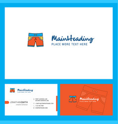 shorts logo design with tagline front and back vector image