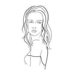 Sketch of a young woman with long hair vector image