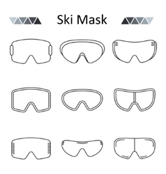 Ski goggles outline set icon vector image