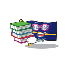 Smart student flag nauru scroll mascot cartoon vector
