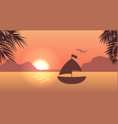 sunrise or sunset sea mountain and palm trees vector image vector image