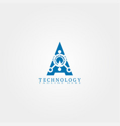 Technology icon template with a letter creative vector