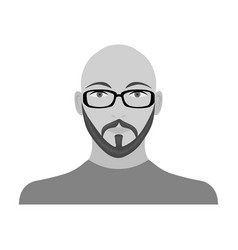The face of a bald man with glasses with a beard vector