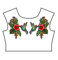 tropical birds embroidery patches design t-shirt vector image
