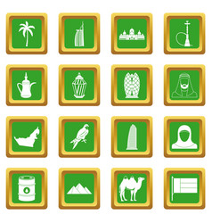 Uae travel icons set green vector