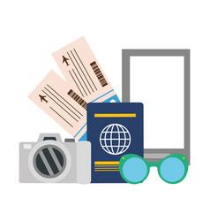 vacations smartphone camera passport tickets vector image