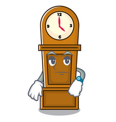 Waiting grandfather clock mascot cartoon vector