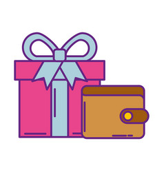 Wallet money with gif box present vector