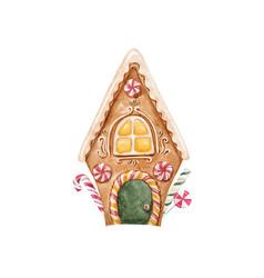 Watercolor gingerbread house vector