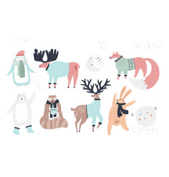 woodland animals flat characters set vector image
