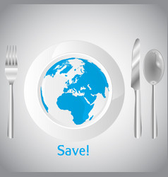 world on the clean white plate concept vector image