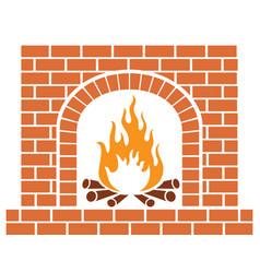 brick fireplace vector image