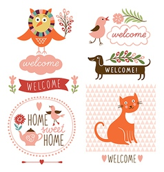 Decor elements welcome home lettering vector