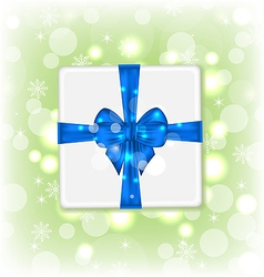 Gift box with blue bow for your party vector image