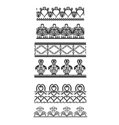 seamless black and white border of lace on a white vector image