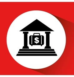 silhouette bank building portfolio money orange vector image
