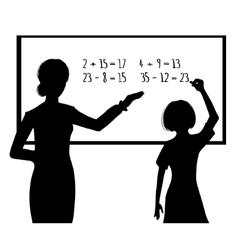 Silhouette of schoolgirl and teacher at blackboard vector image vector image